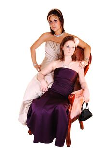 Free Two Beautiful Woman Sitting In A Armchair. Stock Photos - 13824693