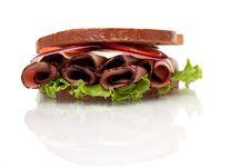 Roast Beef Sandwich On Rye Bread Stock Photos