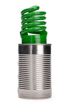 Free Green Compact Fluorescent Bulb In A Tin Can Stock Image - 13825931
