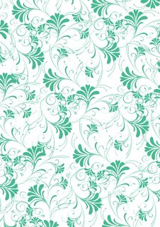 Green Flower Seamless Pattern Stock Image