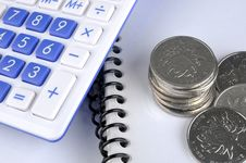 Document, Coins And Calculator Royalty Free Stock Photography