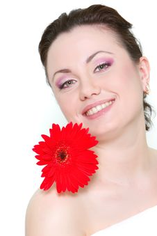 Free Attractive Woman With Red Flower Royalty Free Stock Photo - 13828855