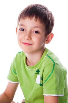 Free Little Smiling Boy In Green T-shirt Royalty Free Stock Image - 13829126