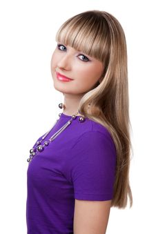 Free Beautiful Girl In Purple Clothes With Silver Neckl Stock Images - 13829234