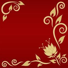Free Festive Card With Golden Floral Element Royalty Free Stock Image - 13829496