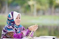A Woman Weaving Bamboo Mats Royalty Free Stock Image