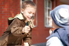 Free Two Boys Fighting With Spoons Stock Photography - 13830442