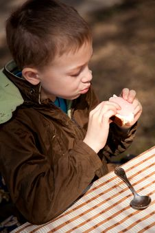 Boy Enjoing The Bred And Butter On The Open Air Stock Photography