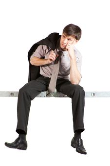 Free Young Businessman Sitting On Ladder, Thinking Stock Images - 13830644