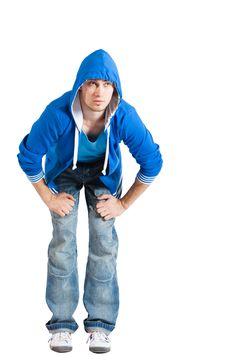 Free Handsome Young Man Dressed Casual. Blue. Isolated Stock Image - 13830731