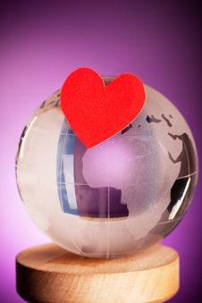 Free Globe With Heart Royalty Free Stock Image - 13830816