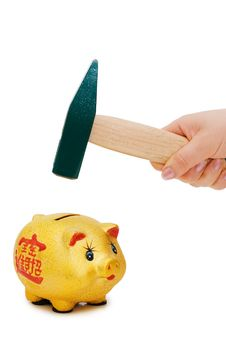Free Hand With Hammer And Piggy Bank Stock Photo - 13831090
