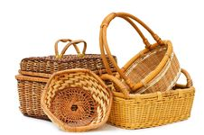 Free Wattled Basket Isolated Over White Stock Images - 13831154
