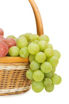 Wattled Basket With Grapes Stock Image