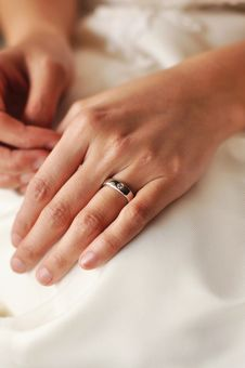 Bride S Hand With Wedding Ring Royalty Free Stock Photo