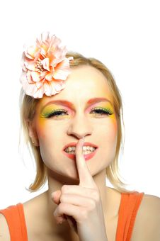 Concept Of Summer Woman With Creative Eye Make-up Stock Images
