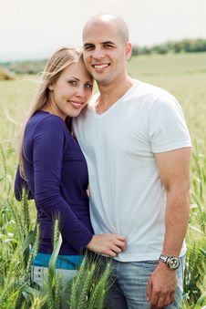 Portrait Of Lovely Lovers Hugging Stock Images