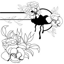 Monochrome Illustration With Flowers Stock Photography