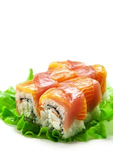 Salmon And Tuna Roll Stock Photos