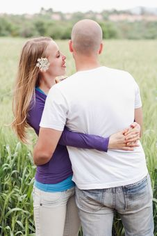 Young Romantic Couple Standing Together Royalty Free Stock Images