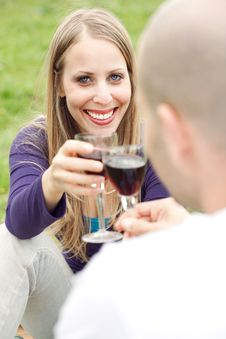 Free Young Romantic Couple Celebrating With Wine Stock Images - 13835794
