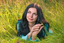 Free Young Woman In Grass Stock Image - 13835851
