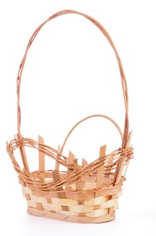 Free Empty Natural Wicker Handled Basket Stock Photos - 13835893