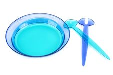 Blue Plastic Dishes, Spoon, Fork Royalty Free Stock Photos
