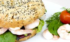 Free Prawn Bagel Royalty Free Stock Photography - 13836497