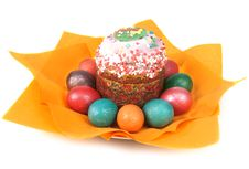 Free Easter Pie In Glaze And Dyed Egg On Orange Napkin Stock Images - 13836514