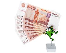 Free Bills 5000 Roubles In Stand In The Manner Of Frogs Stock Image - 13836561