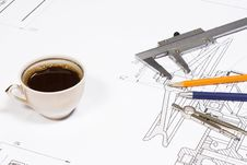 Coffee And Office Accessory Royalty Free Stock Photo