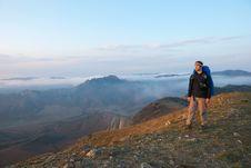 Free Hiker On A Peak Stock Image - 13836831