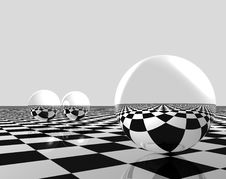 Spheres And Chess Royalty Free Stock Photos