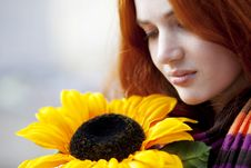 Free Pretty Girl Walking With A Sunflower City Royalty Free Stock Photos - 13838058