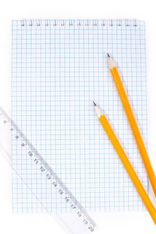 Free Note Pad Straightedge And Pencils Stock Photography - 13838412