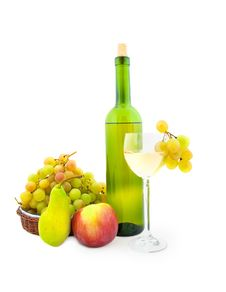 Bottle Of White Wine And Various Fruits Stock Image