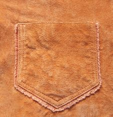 Pocket In  A Velours Leather Royalty Free Stock Images