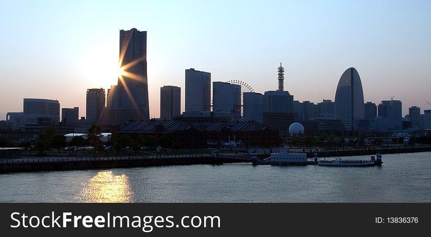 Yokohama Japan skyline.