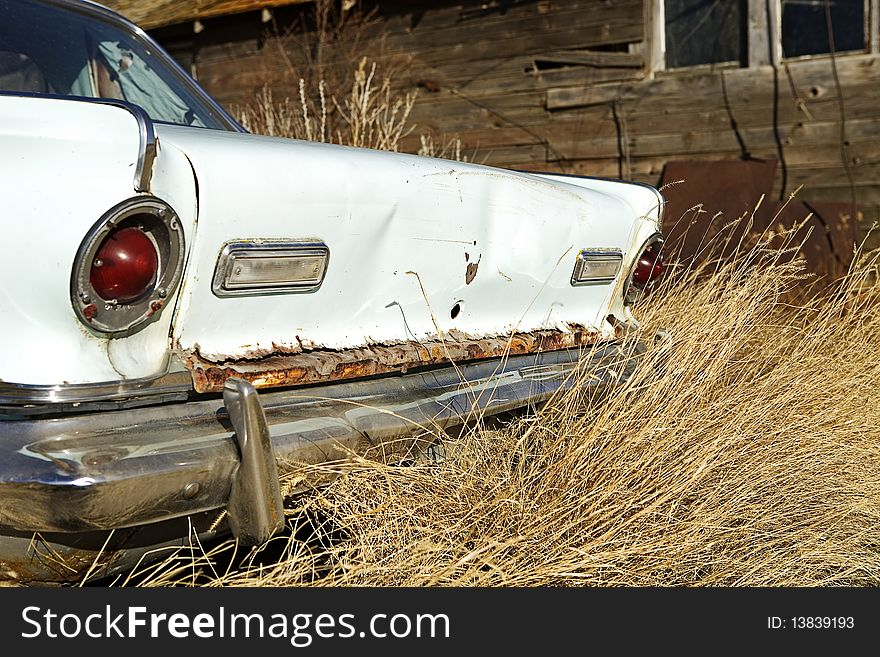 Rear end of an abandoned car