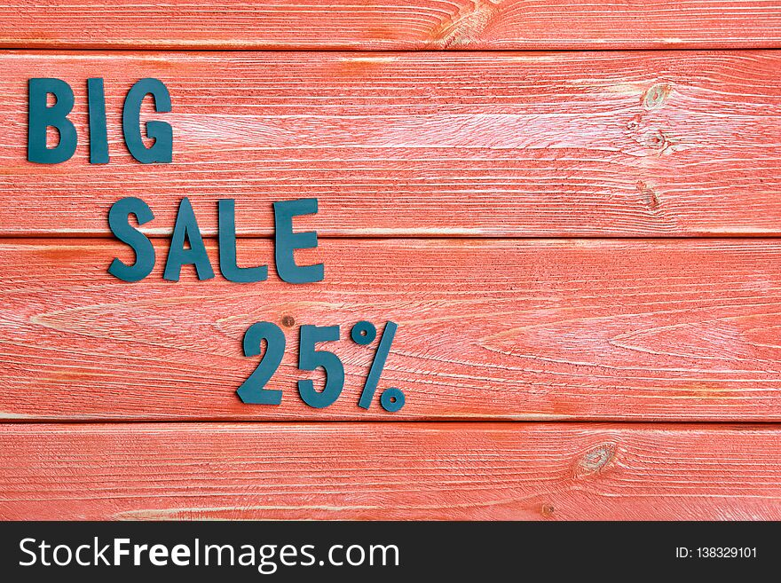 Big sale lettering and discount offer at twenty five percent, metal letters on textured wooden boards color season 2019