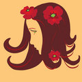 Free Girl Stylized Profile With Red  Poppies Royalty Free Stock Image - 13841926