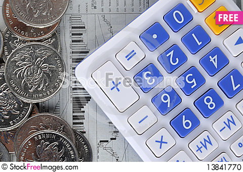 Free Calculator, Coins And Stock Information Stock Photo - 13841770