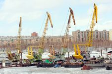 Cranes In Sea Port Stock Photos