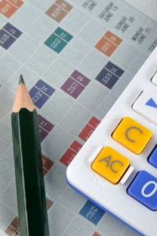 Free Score Paper, Calculator And Pencil Royalty Free Stock Image - 13841756