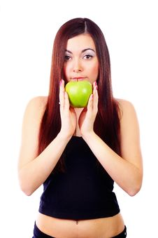 Free Girl Holding Apple Stock Images - 13842064
