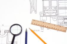 Free Pen And Ruler At Draft Royalty Free Stock Image - 13842176
