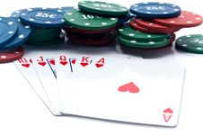 Free Chips Of Poker And Playing Cards Stock Photography - 13842842