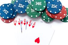 Free Chips Of Poker And Playing Cards Royalty Free Stock Photos - 13842858