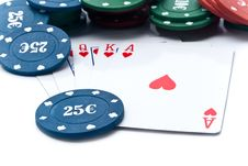 Free Chips Of Poker And Playing Cards Royalty Free Stock Photography - 13842867